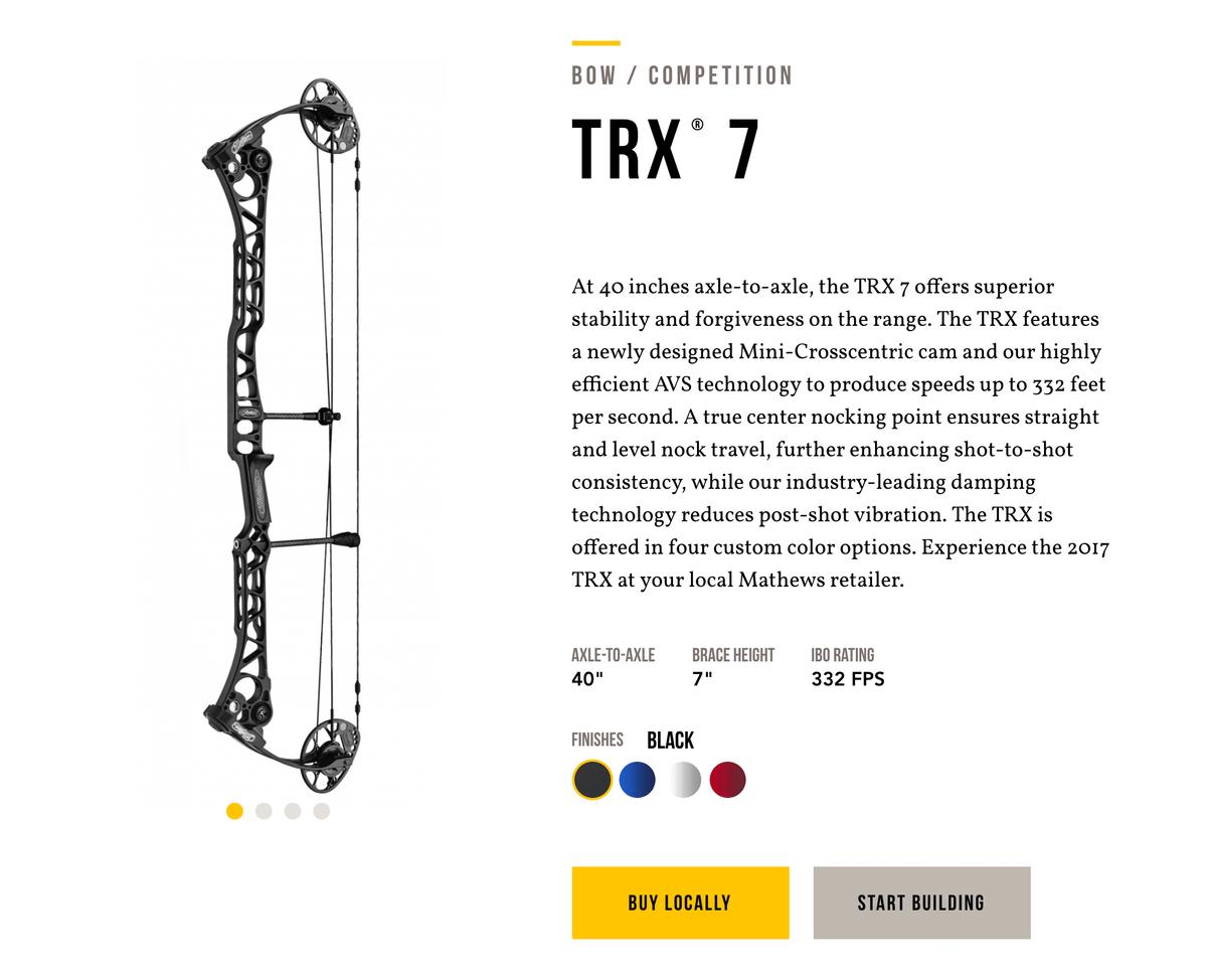 Самый дорогой блочный лук, который я встречала в интернете, — это модель TRX 7 фирмы Mathews. Она стоит 122 300 рублей, и это без обвеса и доставки