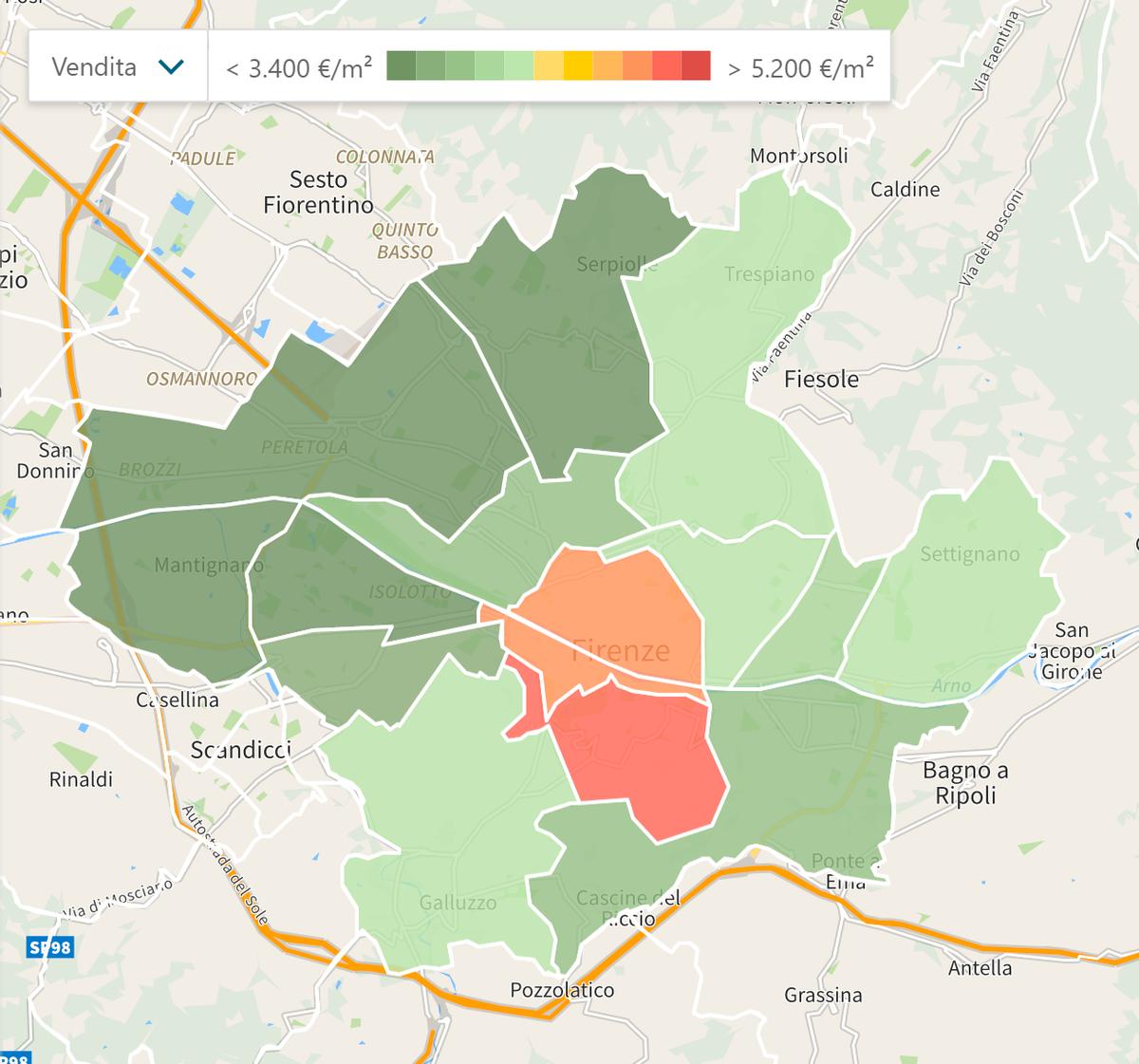 На этой карте цветом показаны более дорогие и более дешевые районы. Как ни странно, исторический центр не самый дорогой. Источник: Immobiliare
