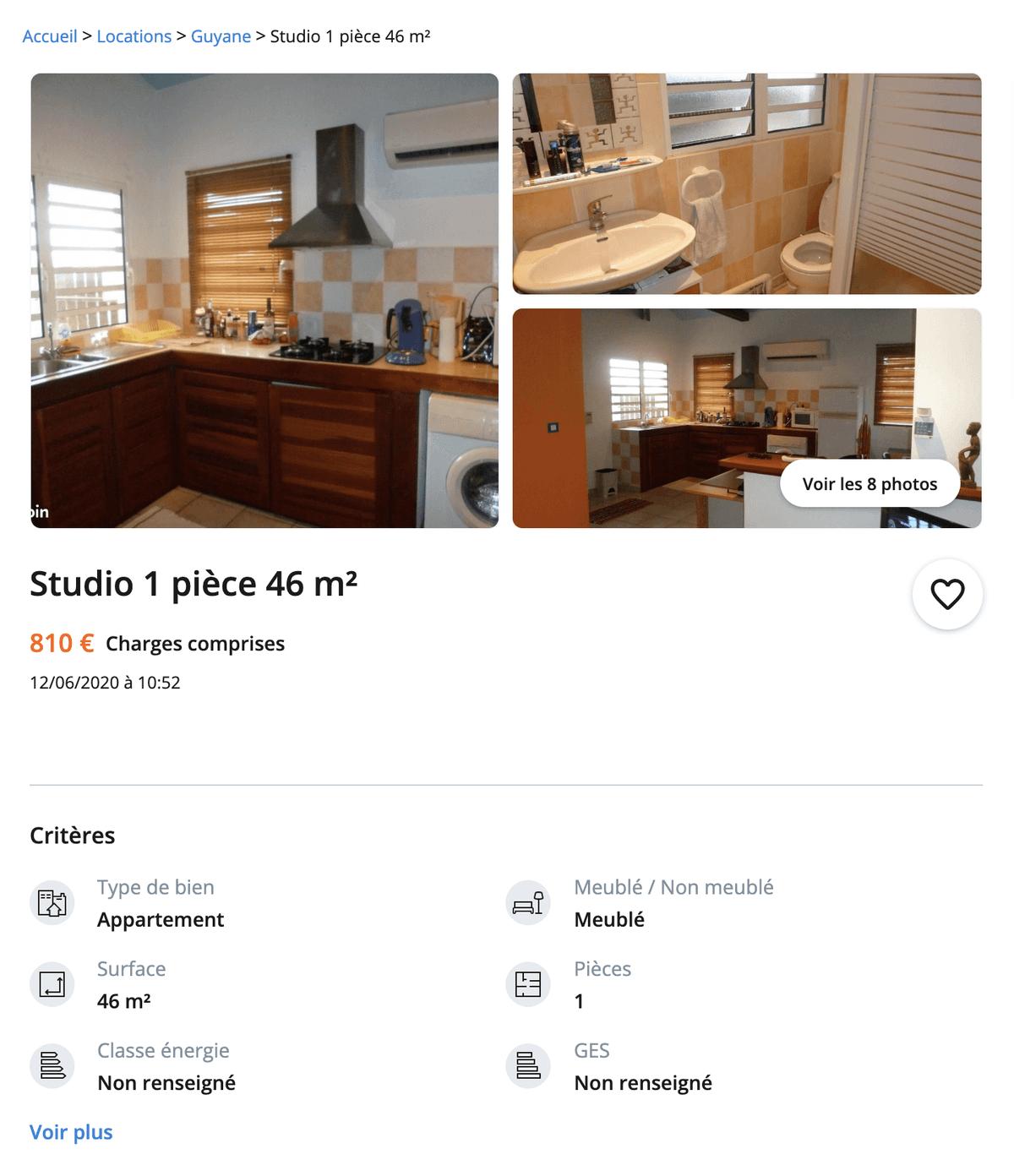 Меблированная студия площадью 46 м² — 810€