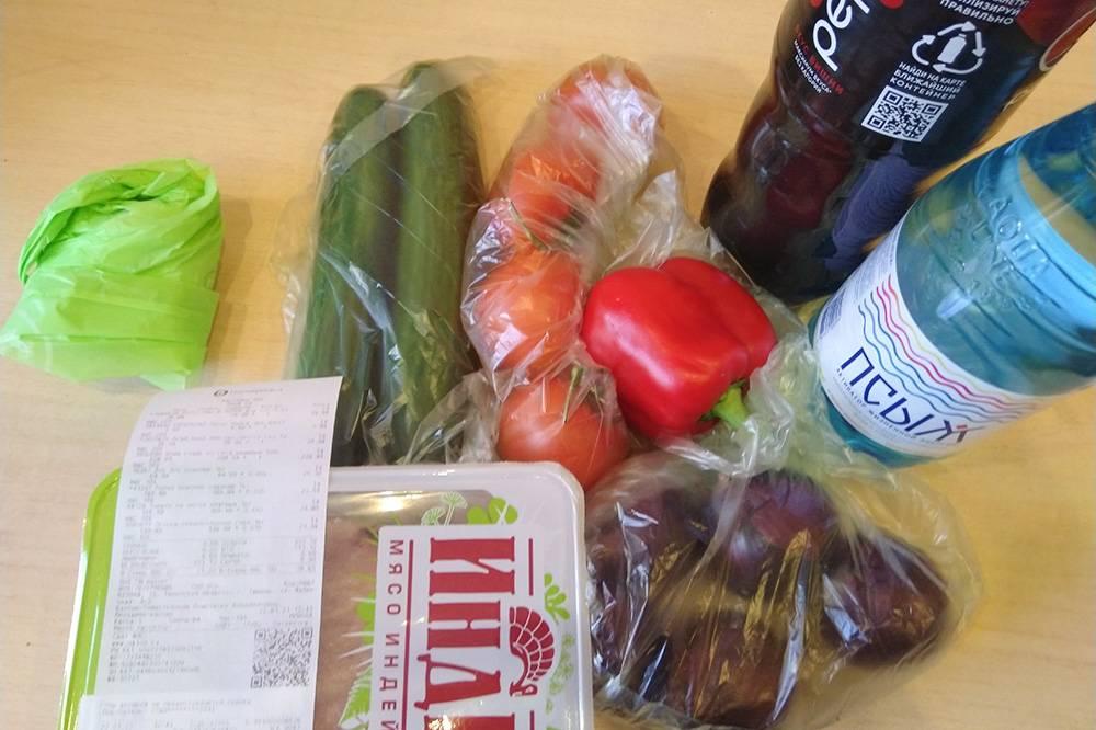 Купил в «Пятерочке» воду, «Пепси», овощи и индейку