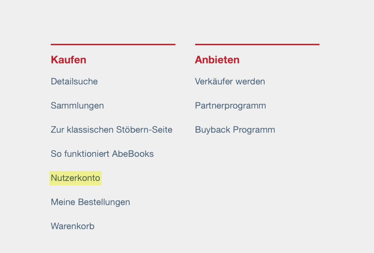 Ссылка на раздел «Счет пользователя» на сайте Аbebooks. На немецком — Nutzerkonto
