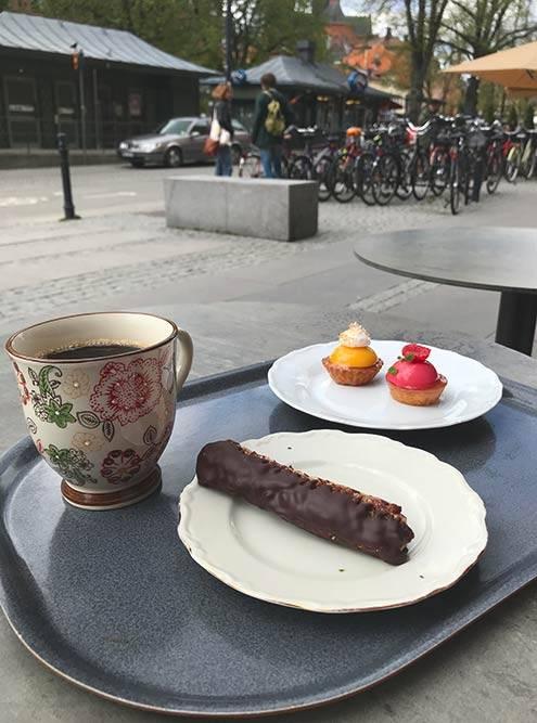 В Уппсале советую зайти в кафе Guntherska Hovkonditori & Schweizeri — лучшее в городе по версии «Трипэдвайзора». Там очень вкусные десерты