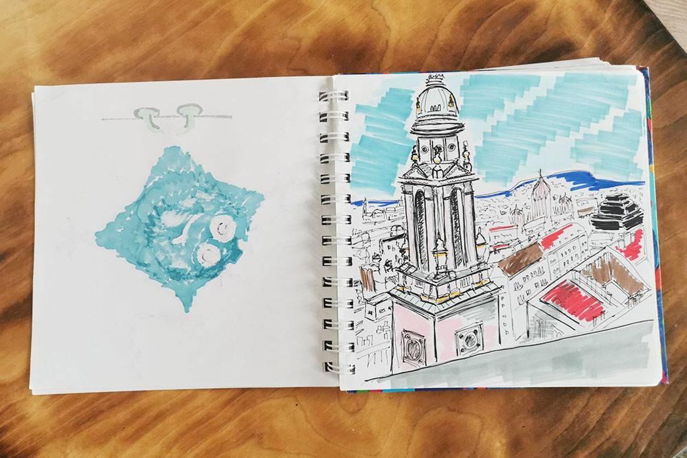 Это венгерский пейзаж, нарисованный маркерами и гелевой ручкой. Если рисовать не в специальных скетчбуках с художественной бумагой, а в обычных блокнотах, то маркеры будут просачиваться на обратную сторону листа — как слева. В таком случае нужно быть внимательным, чтобы не испортить соседние рисунки