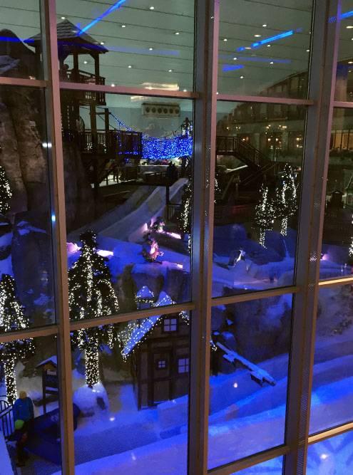 В «Ски Дубай» интересно: можно стоять в легком платье и через стекло смотреть на пингвинов и людей в горнолыжных костюмах