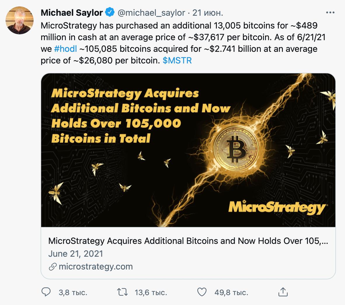 21 июня 2021года глава MicroStrategy сообщил в«Твиттере» опокупке биткоинов на489млн$