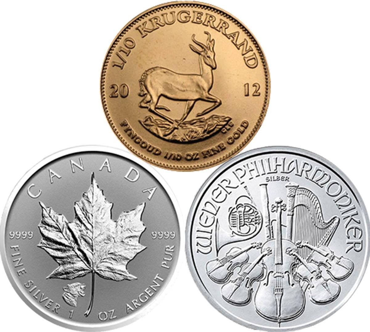 Примеры иностранных монет, в которые можно инвестировать в России: крюгерранд — золотая монета из ЮАР, канадский «Кленовый лист» и австрийская «Филармония»