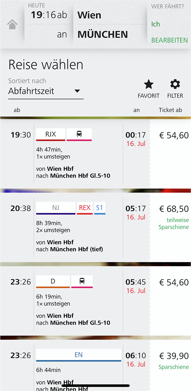 Приложение ÖBB дляпокупкиж/д билетов