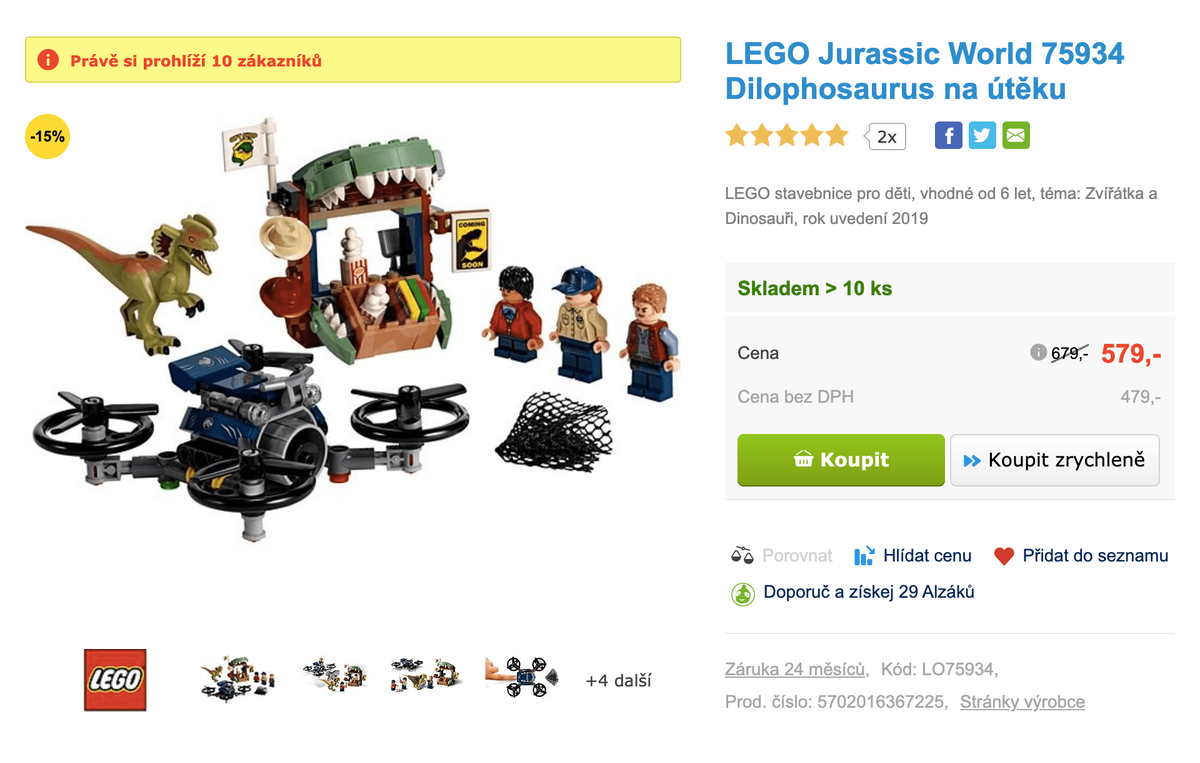579 Kč за небольшой набор «Лего» — это неоправданно дорого