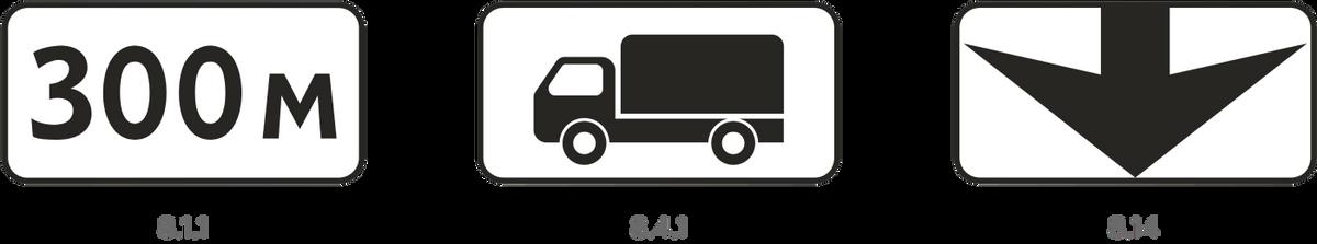 Еще «кирпич» можно использовать с табличкой 8.1.1, которая указывает расстояние от знака до места, куда запретили въезд, и 8.4.1 — она указывает вид транспорта, на который распространяется действие знака. Табличка 8.14 тоже может применяться со знаком 3.1 — она указывает полосу, на которую въезд запрещен, если она предназначена длямаршрутных транспортных средств
