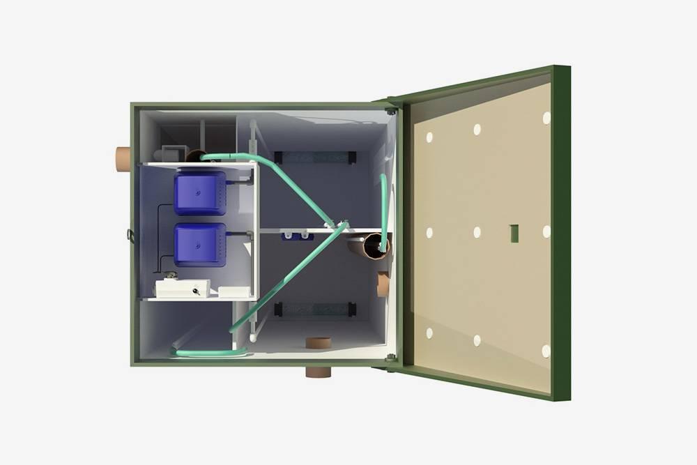 Внутри конструкция систем биоочистки более сложная: больше камер, насосы с трубками, поплавки и элементы управления. Источник: Топол-Эко