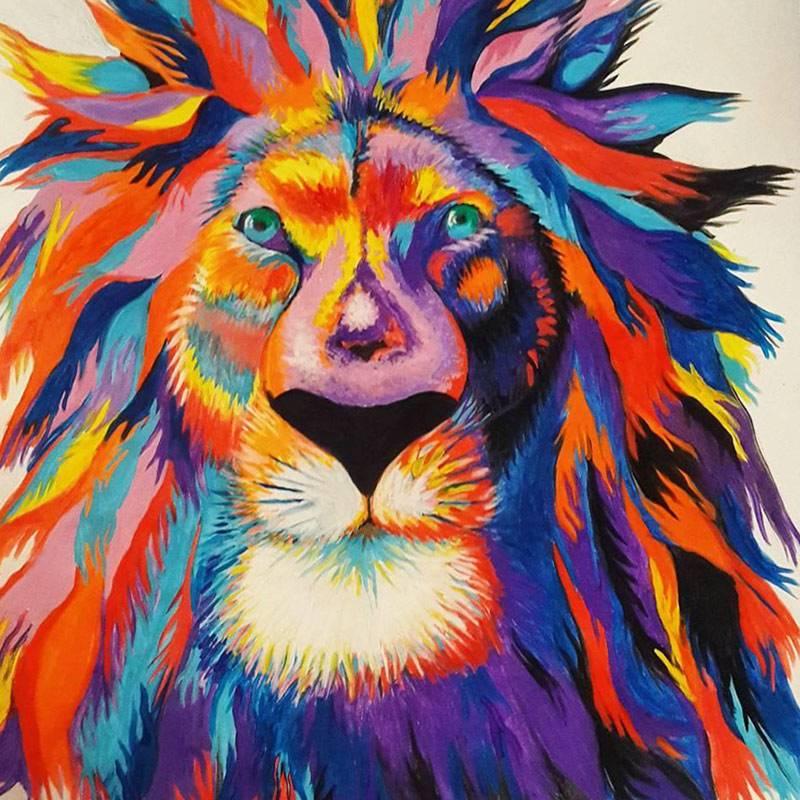 Рисовать гуашью можно на любой плотной бумаге или картоне. Этот лев, например, нарисован гуашью на самой дешевой акварельной бумаге дляшкольников