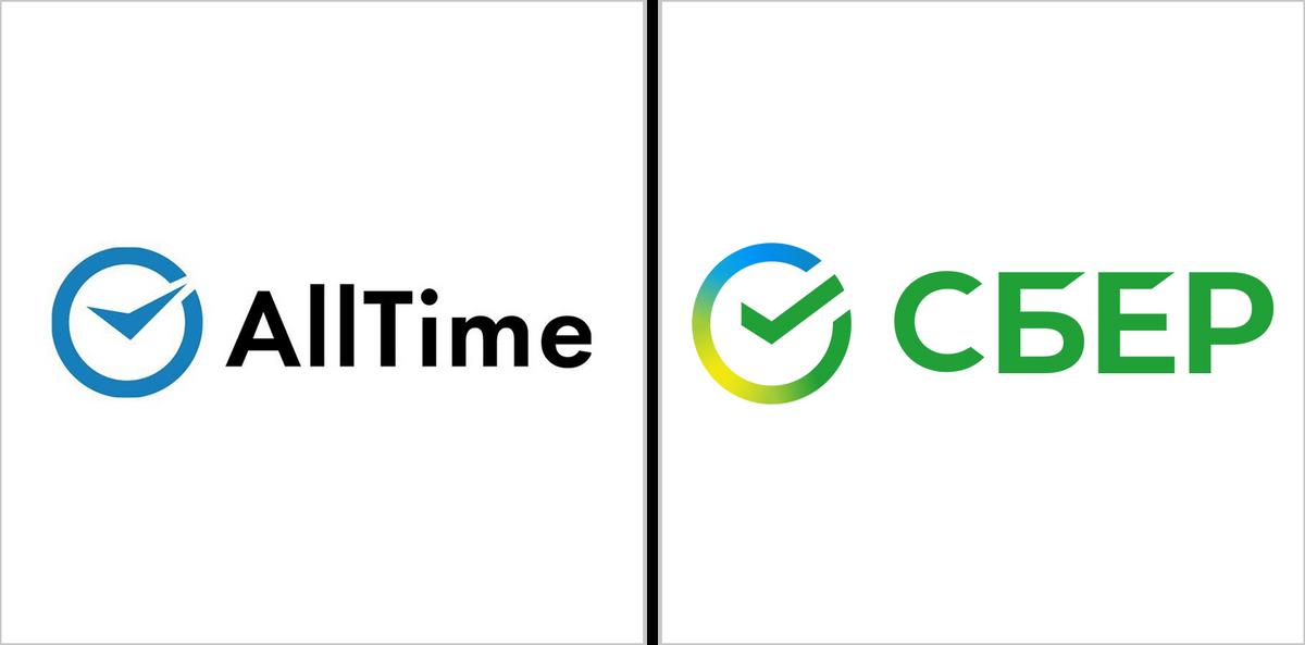 Логотип AllTime и новый логотип Сбера визуально схожи: часы со стрелками у AllTime и галочка в круге у Сбера