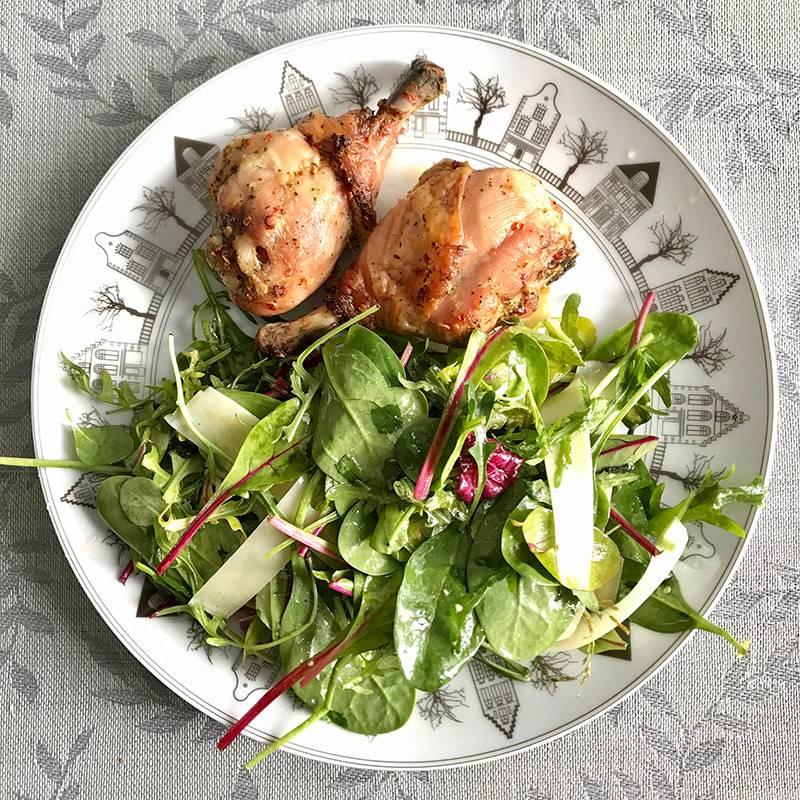 Мой типичный обед: птица и зелень