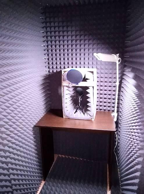 Внутри на столе — звукопоглощающий короб с диктофоном. Настольная лампа дляосвещения у меня уже была