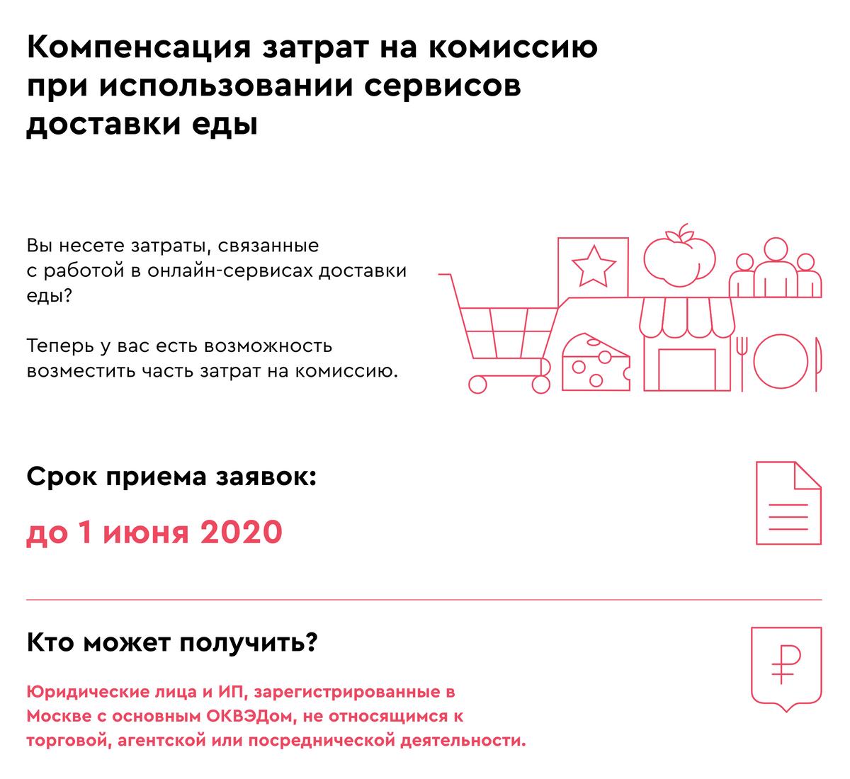 Сейчас правительство Москвы компенсирует затраты на комиссию только сервисов доставки«Яндекс-еда» и «Деливери-клаб». Список сервисов доставки обещают дополнить