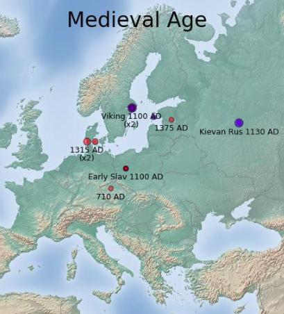 А вот здесь жили мои предки — викинги, народы Киевской Руси и ранние славяне около 1100года нашей эры, на рубеже 11—12 веков