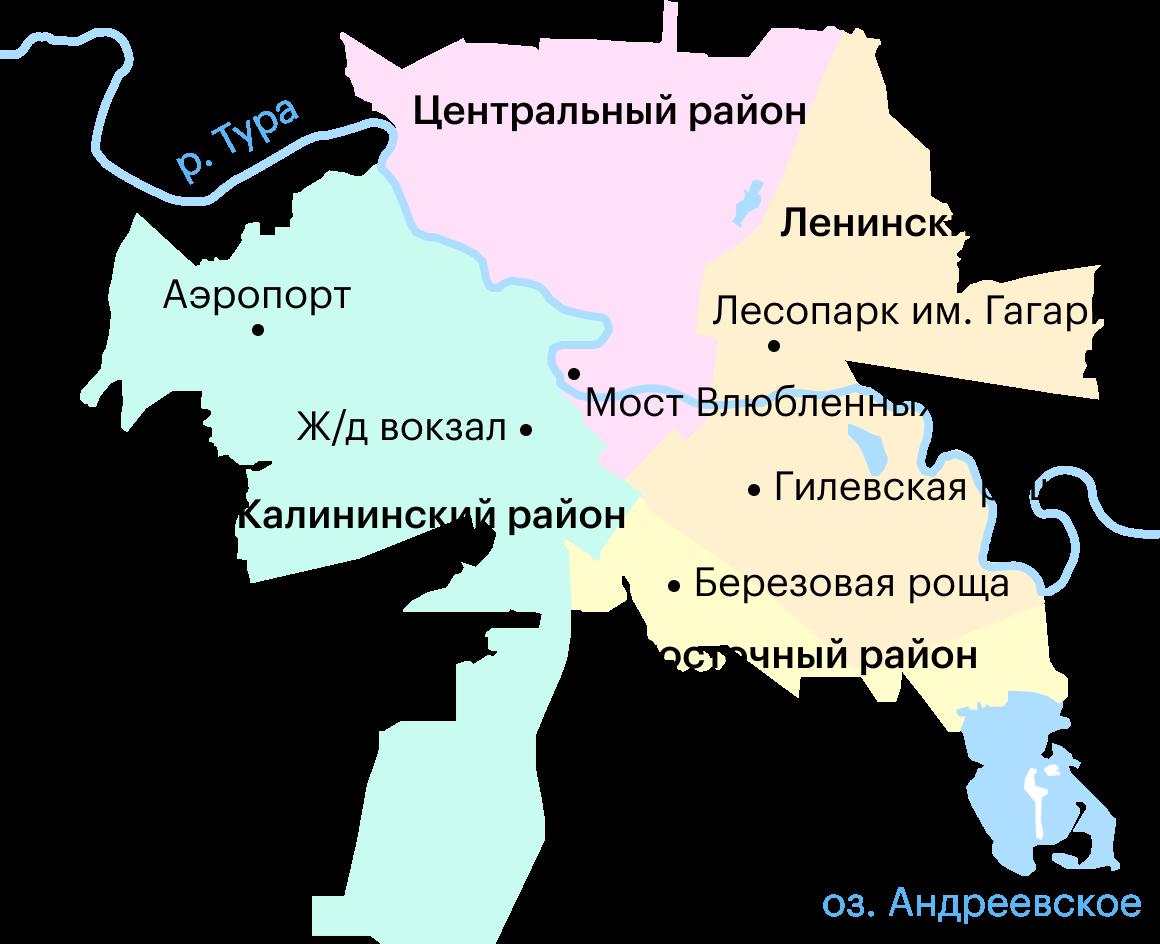 Карта районов Тюмени