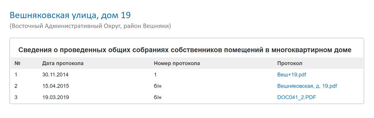 На портале «Дома Москвы» протоколы есть в разделе «Сведения о проведенных общих собраниях собственников помещений»