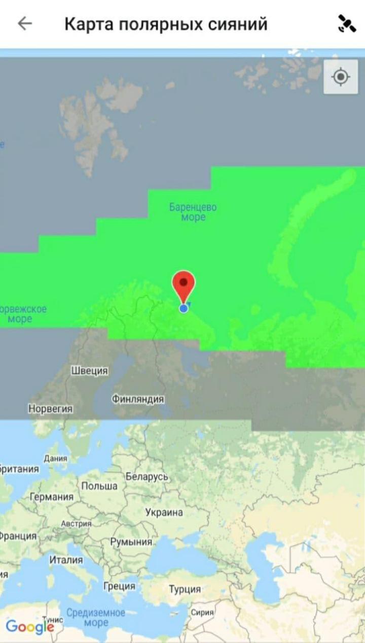 Так выглядят контуры аврорального овала в приложении Aurora. В разделе «Карта полярных сияний» можно выбрать свою геолокацию. Красная отметка стоит на Териберке