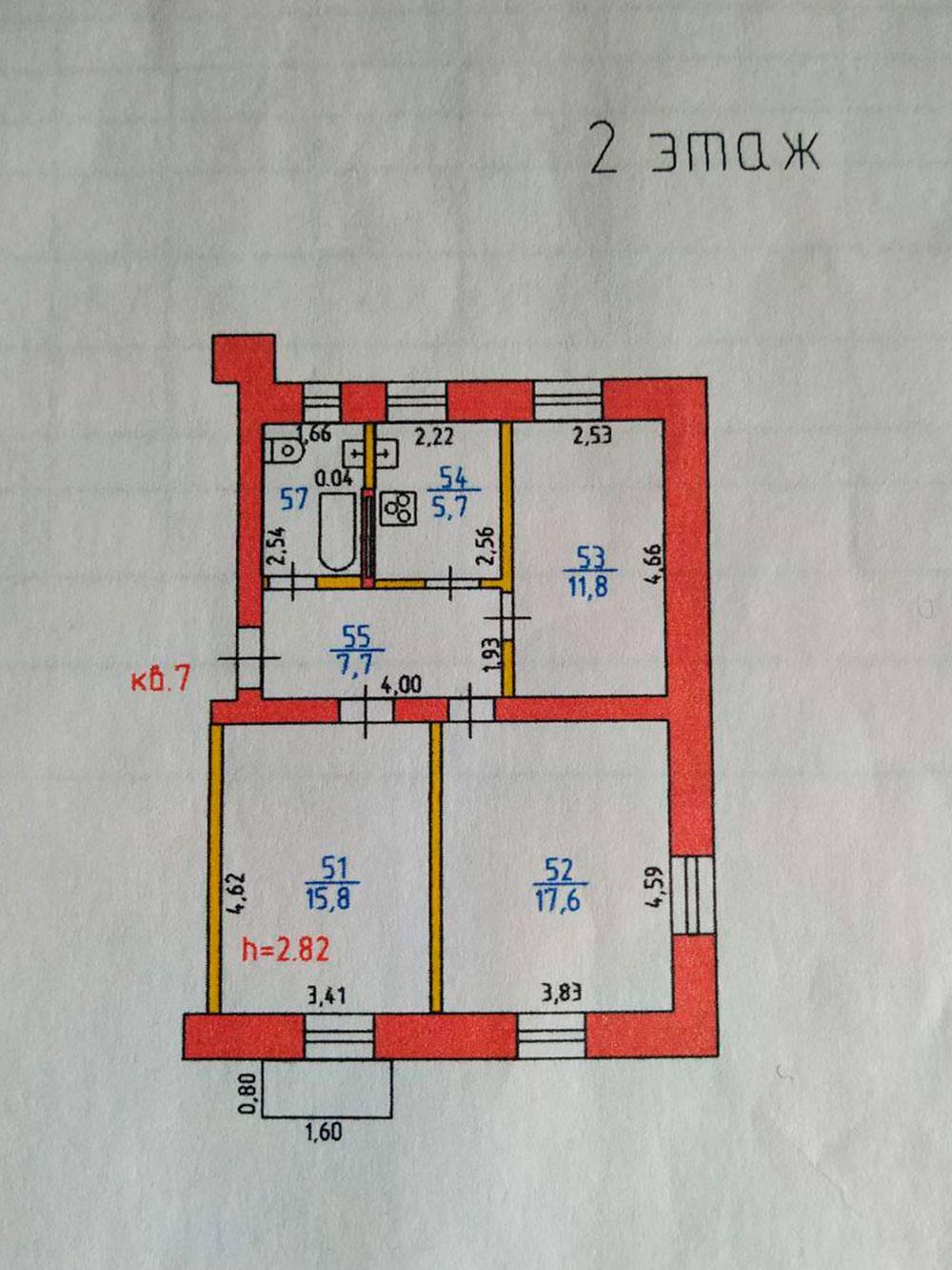 План квартиры из техпаспорта. Нам осталось выкупить самую большую комнату