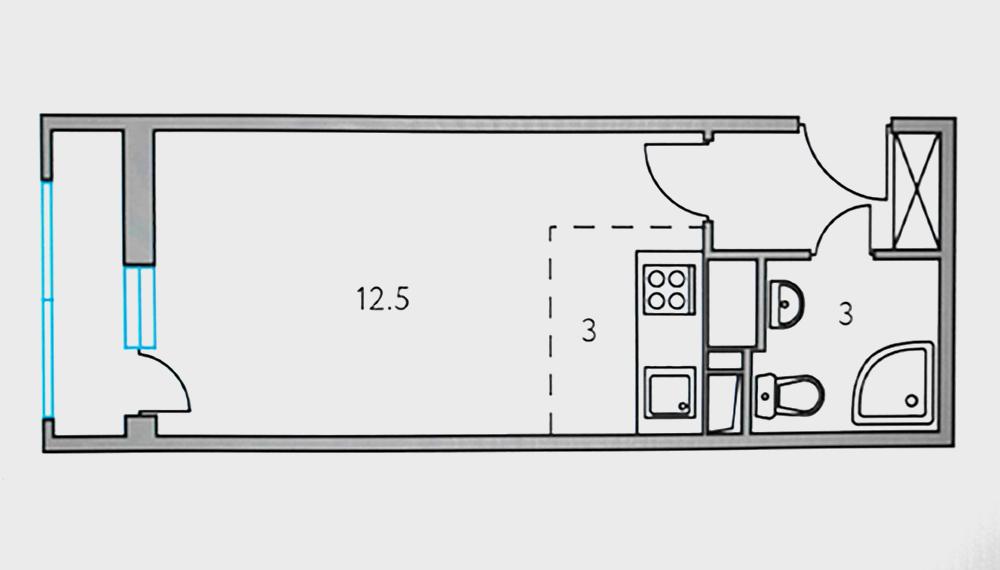 Себе я взял вот такую студию 23 м². Такая планировка имеет свои плюсы и минусы. С одной стороны, вытянутая форма позволяет зонировать помещение на мини-кухню и мини-гостиную, с другой — из-за маленького окна в квартире будет мало света днем