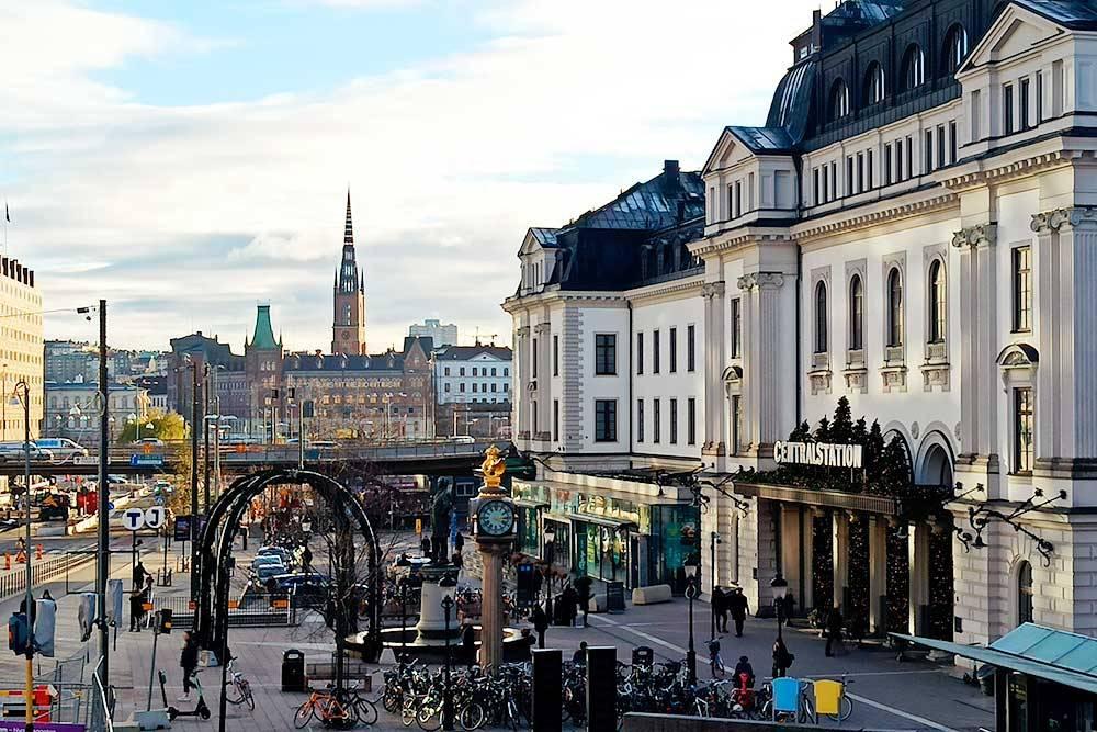 Вид на Центральный вокзал Стокгольма по дороге на стажировку