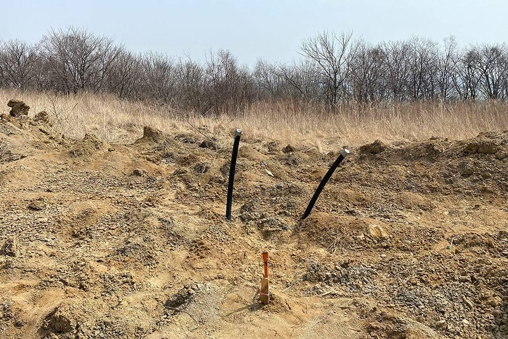 Две черные палки — выходные трубы нашего будущего водопровода. К каждому участку уже подведен колодец и сделан выход дляподключения