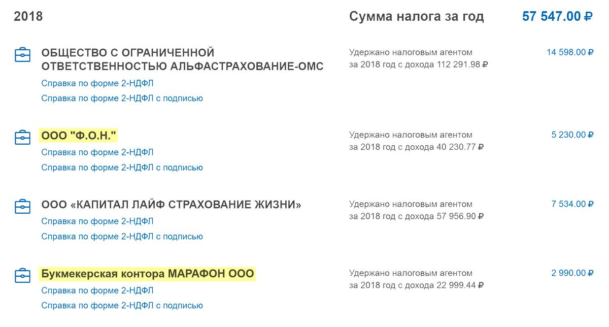 За 2018&nbsp;год я снимал больше 15 000<span class=ruble>Р</span> у букмекеров «Марафон» и «Фонбет». В 2019&nbsp;году справки 2-НДФЛ этих контор появились в моем личном кабинете на сайте&nbsp;ФНС