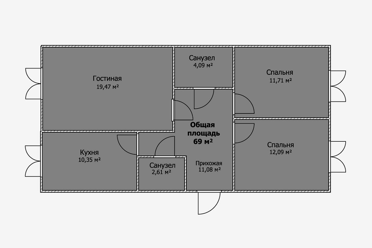 Площадь этих двух квартир одинакова, новпервом случае санузла два, аспальни икухня сгостиной расположены намаксимальном удалении друг отдруга. Такая планировка подойдет для семьи, живущей сродителями или детьми