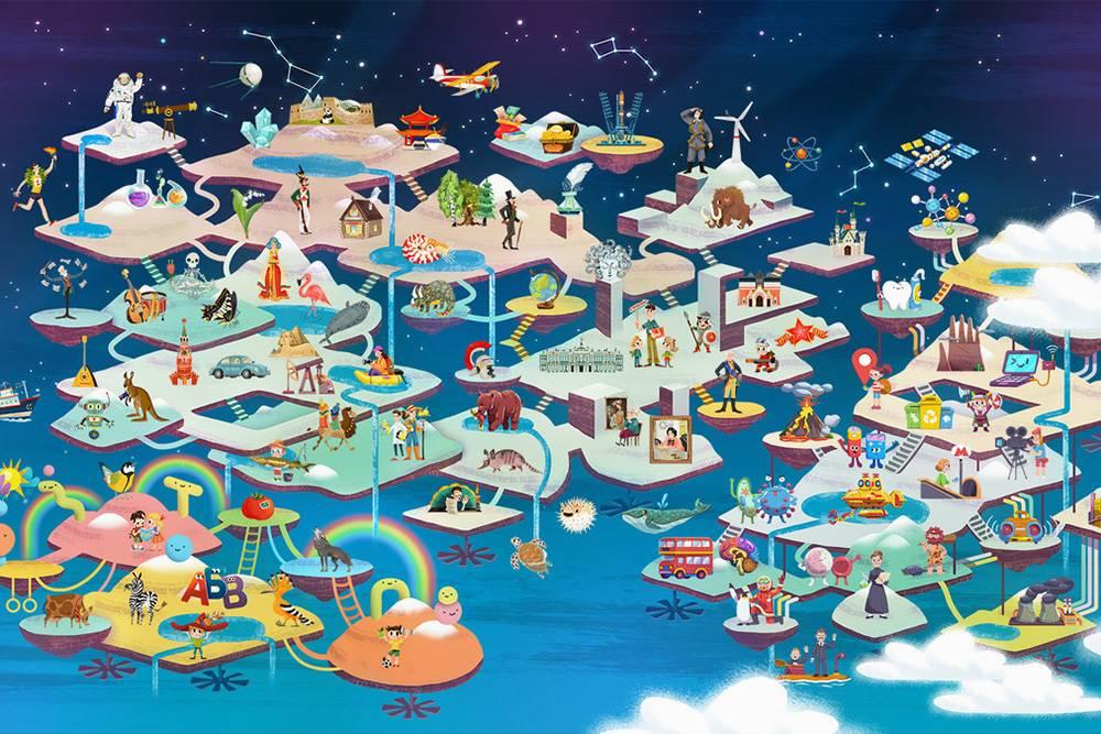 Карта, по которой путешествует Чевостик, состоит из трех островов со своими достопримечательностями. За каждой картинкой скрывается лекция, тест и игра