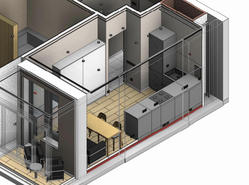 В проекте кухня выглядела так — безверхних шкафов, только нижние