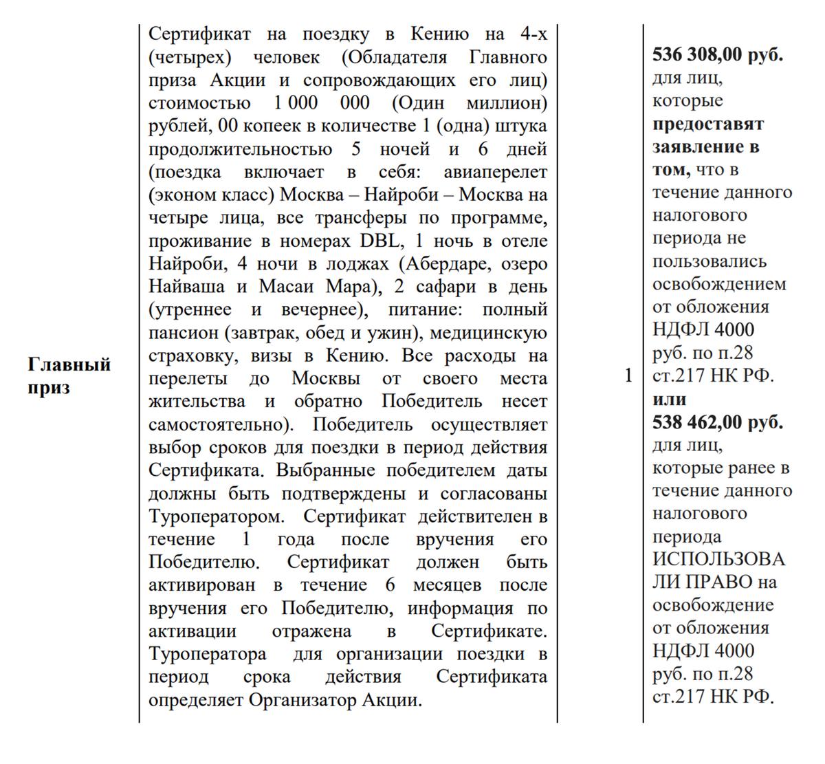 Размер денежной части зависит от того, вычитали ли вы уже 4000<span class=ruble>Р</span> из суммы выигрышей за год. Если нет, денежная часть до выплаты НДФЛ равна 536 308<span class=ruble>Р</span>, если вычитали — 538 462<span class=ruble>Р</span>