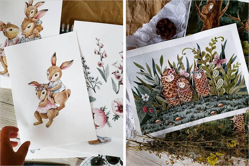 Примеры работ художницы. Анна рисует иллюстрации карандашами или акварелью с отрисовкой деталей карандашами. Источник: «Инстаграм»