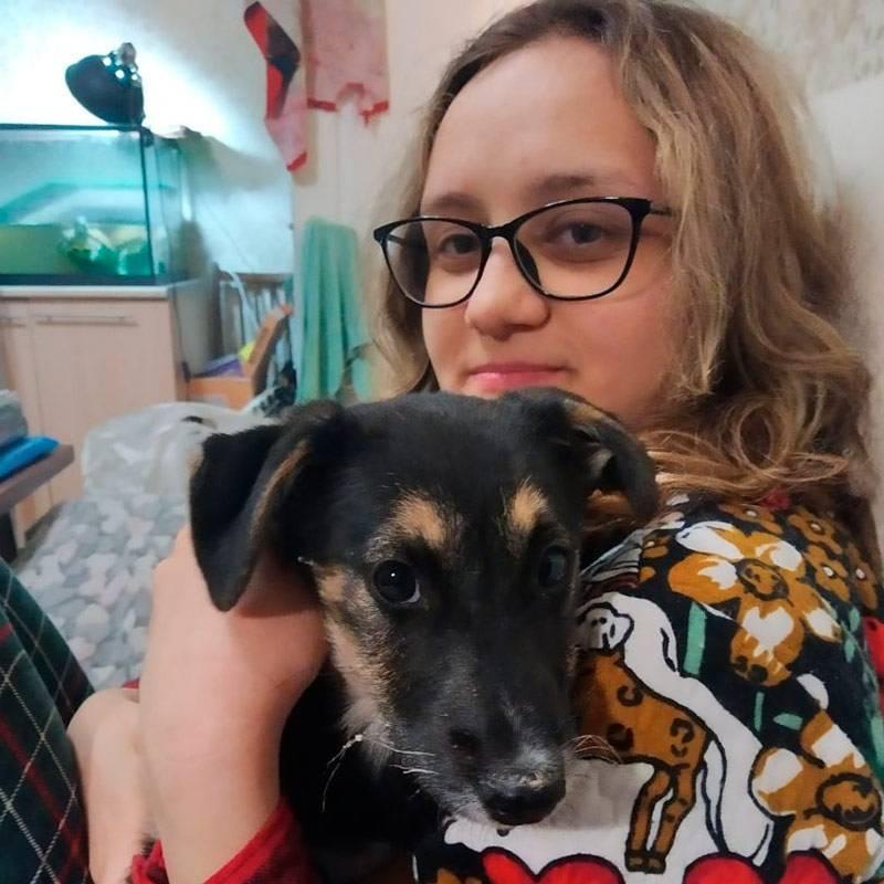 Это я и Бруно — щенок, которого я взяла на передержку. Это девочка