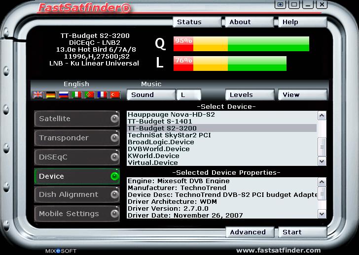 Интерфейс программы Fast Sat Finder длянастройки спутникового интернета