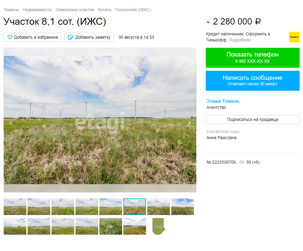 Несмотря на отсутствие дорог, участки продаются очень дорого. Земельный участок в деревне Падерина. Источник: avito.ru