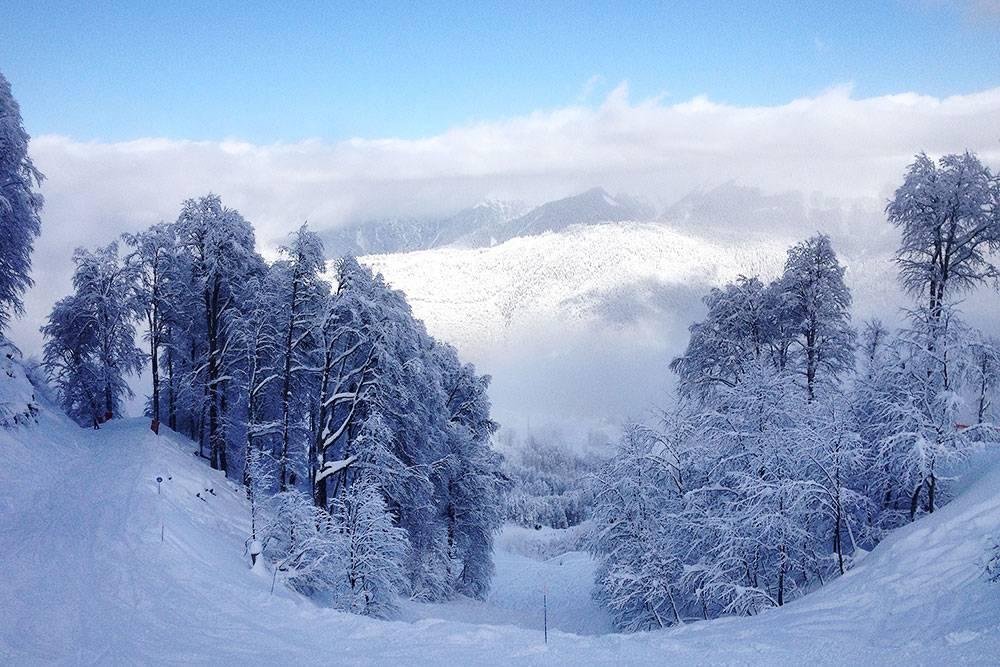 Зимой на «Роза-хутор» температура опускается до –19°C на высоте 2320м