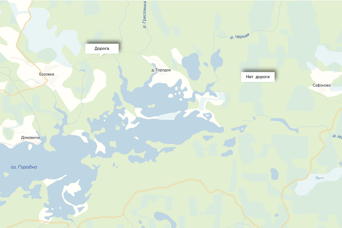В режиме просмотра «Схема» в «Яндекс-картах» дорога прослеживается от Ерзовки до Городка. От Городка до деревни Сафоново ее нет