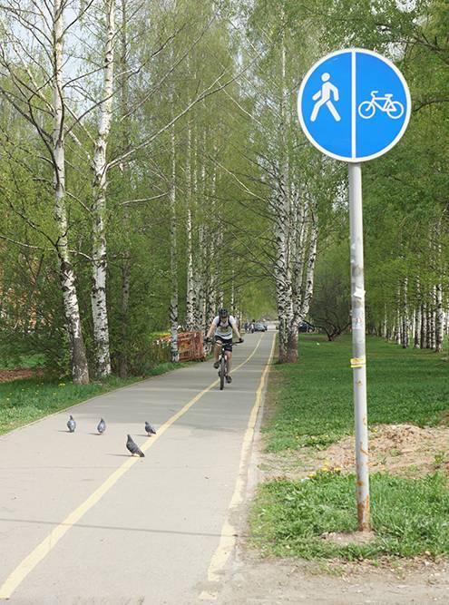 Тротуар просто разделен желтой разметкой — тоже получилась велодорожка