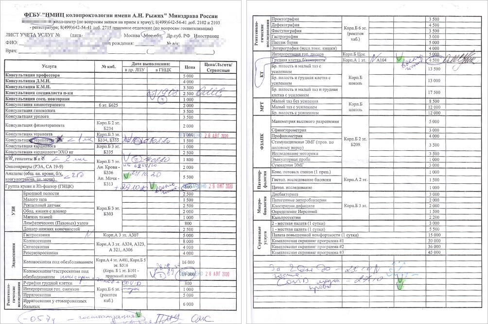 Этот документ вГНЦК называют «обходным листком»: внем врач отмечает, какие исследования нужно пройти пациенту. Такбабушкин листок выглядел перед госпитализацией