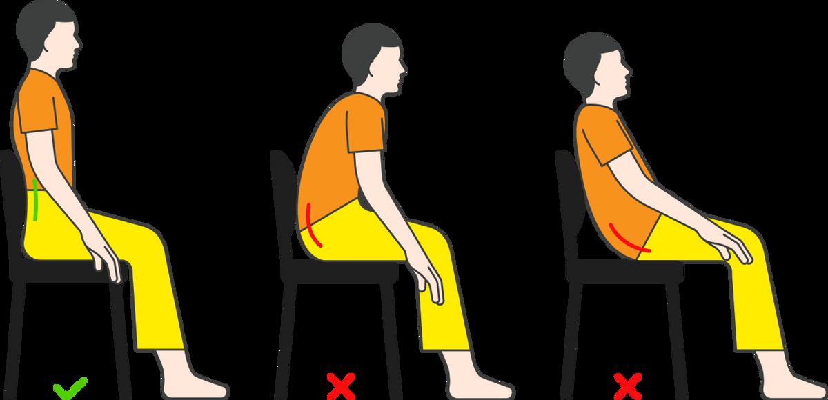 Неправильная и правильная осанка в положении сидя