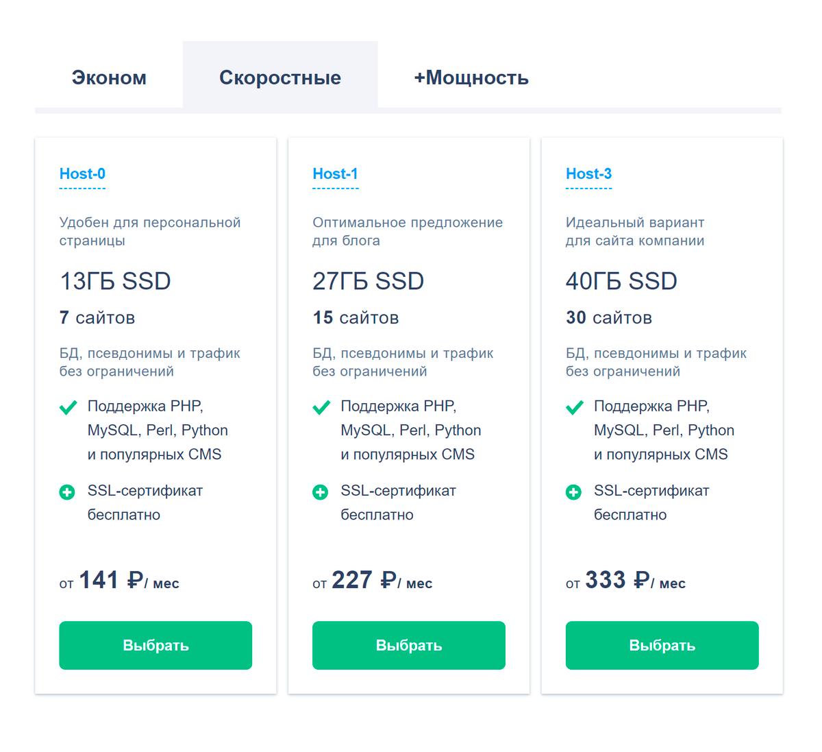 На сайте reg.ru стоимость услуг зависит от размера дискового пространства, количества сайтов, которое можно разместить на хостинге, поддержки CMS и других параметров. На самом дешевом тарифе CMS не поддерживается, так что онбы мне не подошел