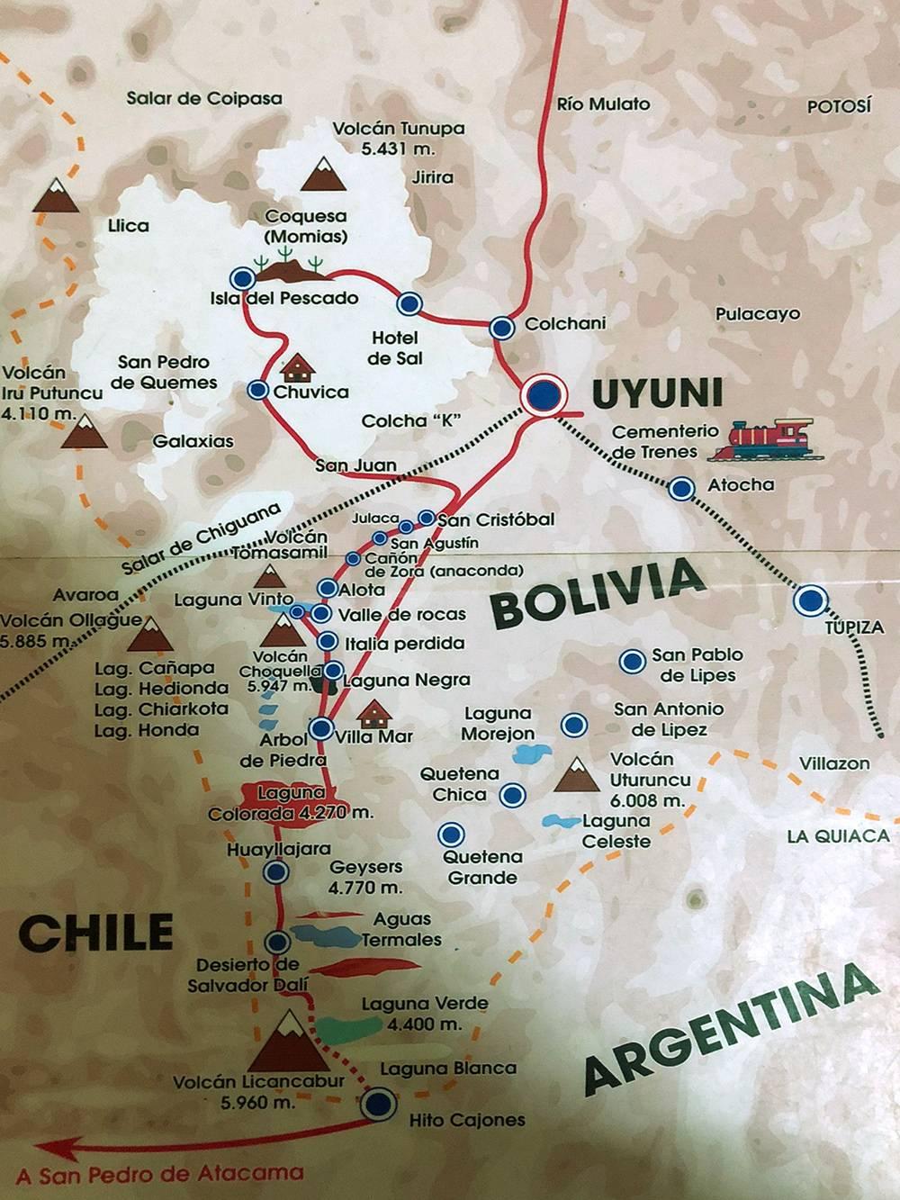 Наш маршрут по национальному парку имени Эдуардо Авароа в Боливии, после лагуны Колорадо он расходится. Левая часть более насыщена природными достопримечательностями, но сложнее для тех, кто восприимчив к горной болезни — часть маршрута пролегает на высоте 4500 метров. Правая часть менее красивая, но и менее сложная. Мы выбрали левую