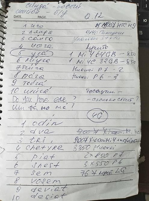 Это моя шпаргалка с китайскими словами, которые нужны, чтобы торговаться. Составить такой словарь мне помогла девочка, которая продавала Мейзу. Я в ответ написала ей, как звучат числительные по-русски
