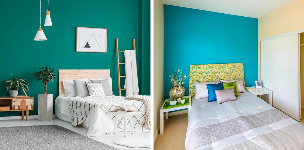 Если вы хотите выделить цветом стену, то выбирайте самую узкую — так она станет зрительно ближе и комната не вытянется