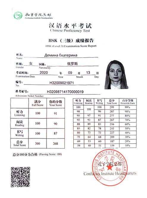 Мой сертификат заHSK, который я сдавала сама вМоскве. Я набрала 91 балл из100 заслушание, 90 — зачтение, 87 — записьмо. Всего — 268баллов из300