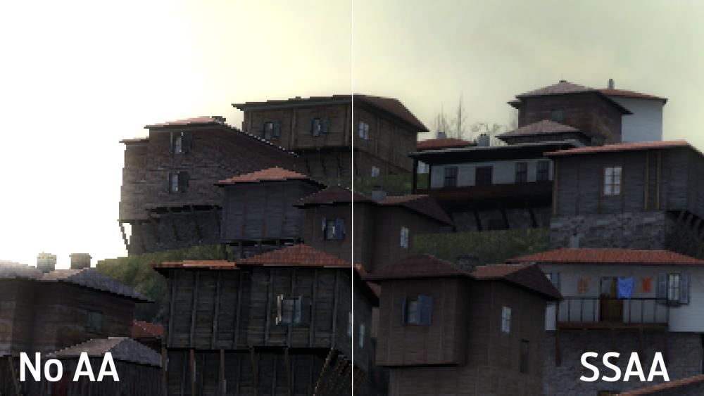Сравнение отключенного сглаживания и SSAA. Игра — Half-Life2. Источник:ignboards.com