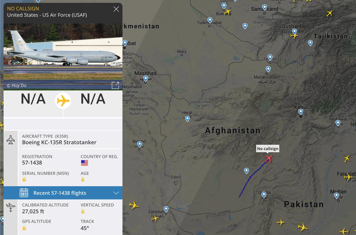 Гражданских самолетов в небе надАфганистаном на момент публикации статьи нет