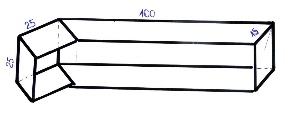 Схематичный чертеж полки. Длина — 100см, высота — 25см, глубина — 15см