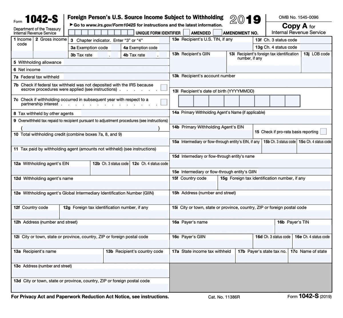 Так выглядит незаполненная форма 1042-S. Ее можно скачать на сайте налоговой США